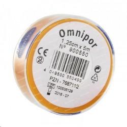 Пластырь фиксирующий, Омнипор р. 1.25смх5м №1 арт. 900550 на нетканой основе гипоаллергенный для щадящей фиксации белый пласт. упаковка